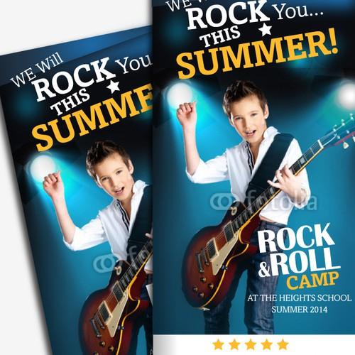 Design Rock & Roll Summer Camp 6 Panel Brochure