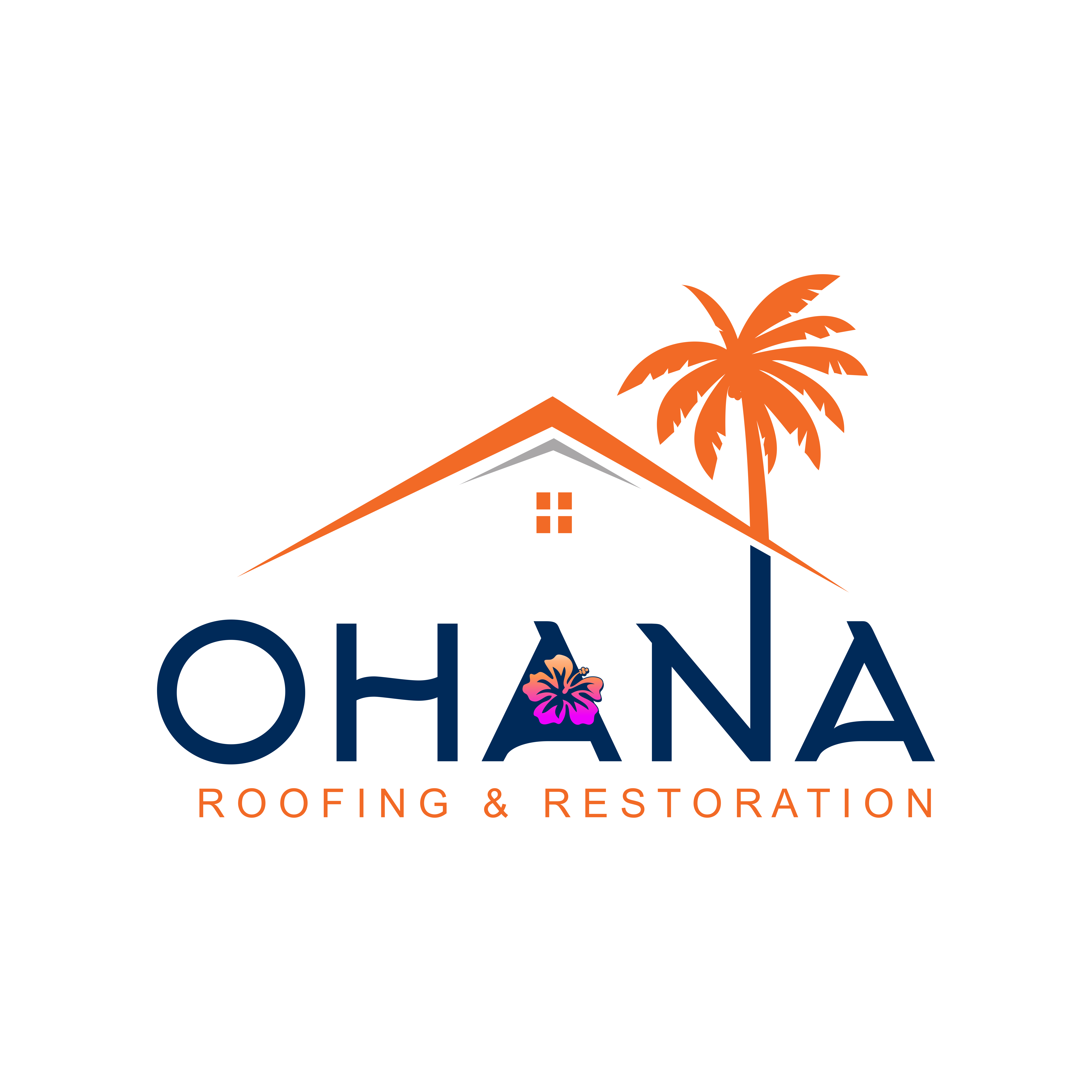 ISO of a logo for a roofing company with a Hawaiian name.