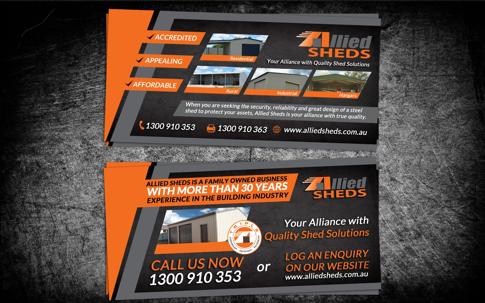 Allied Sheds needs a new postcard or flyer