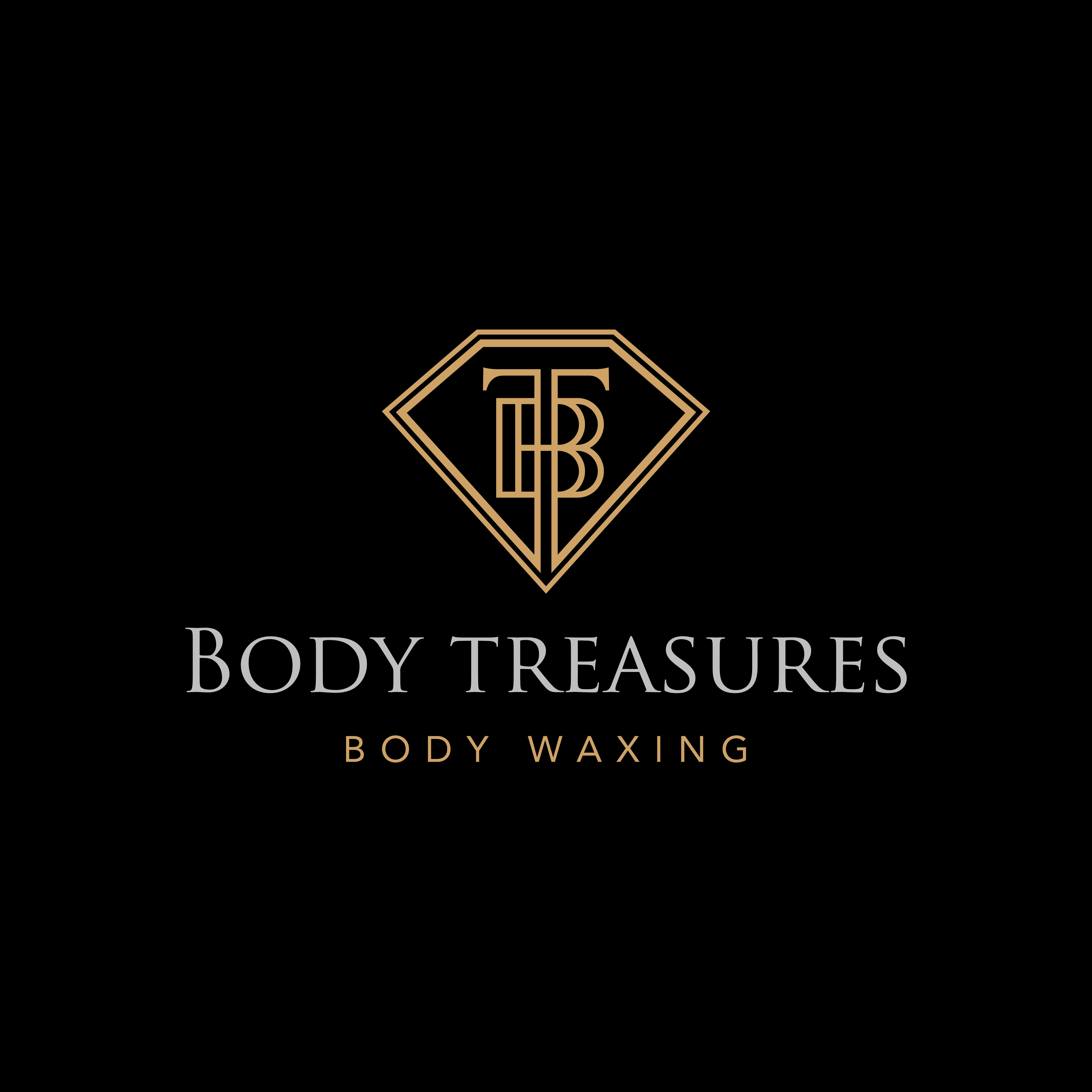 Logo for a waxing boutique (gold, diamonds, treasures male and female silouette)