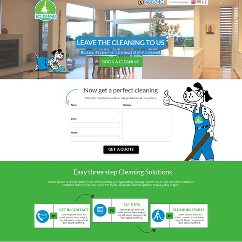 PPC Landing Page for Cleaning Company