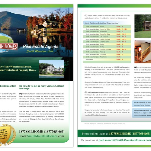 REAL-ESTATE Sales letter design and graphics.