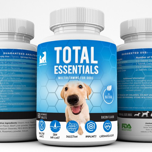 Label design for dog supplement