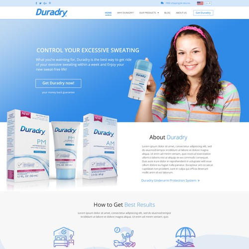 Redesign website for a product called Duradry