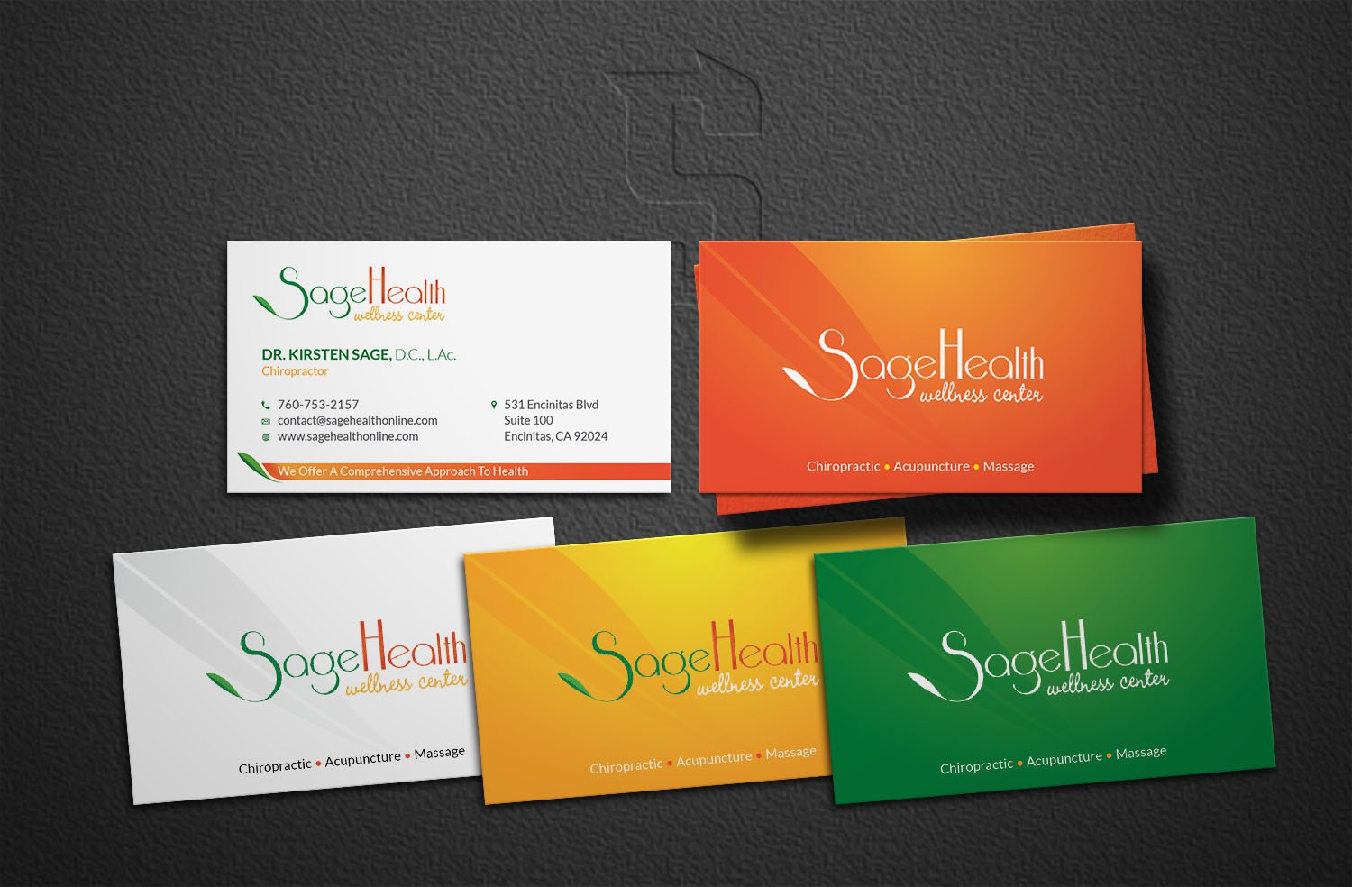 Business Cards for a Multidisiplinary Wellness Center in California