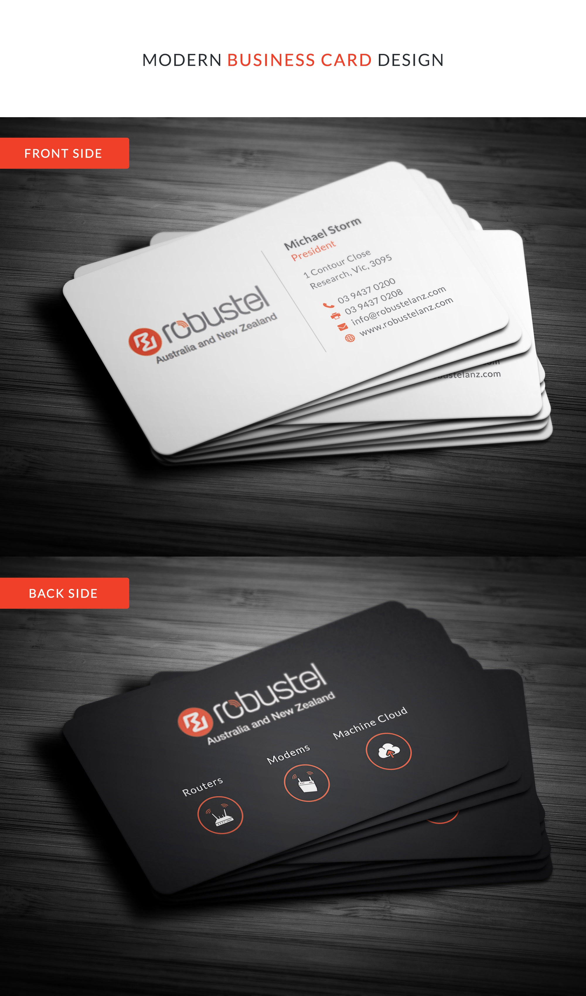Snappy business card for tech company