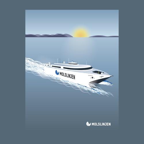 Molslinjen Ferry vintage styled illustration