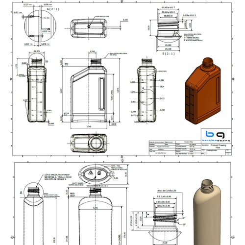 Technical drawings of plastic bottles