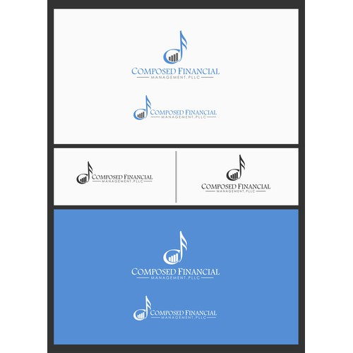 A blended logo of music, finance, and technology for Composed Financial