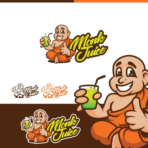 Logo and character design for Monk Juice