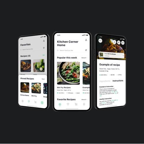Kitchen Corner iOS App Design
