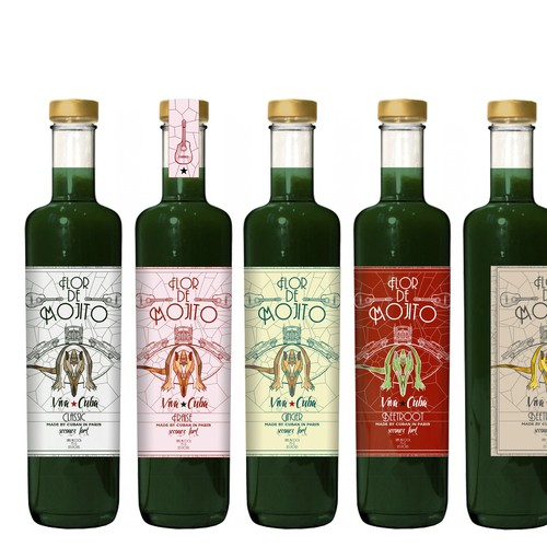 Create a bottle label for a trendy authentic natural syrup used to prepare Mojitos!