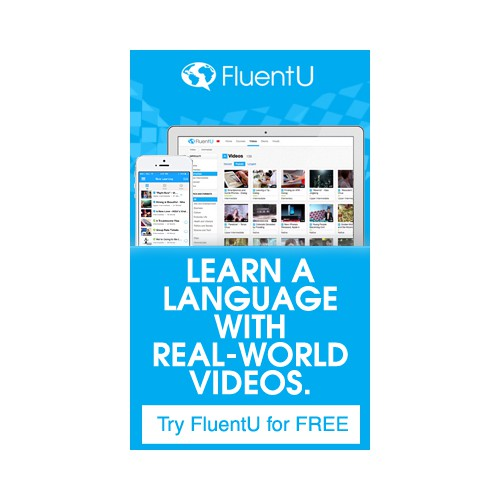 Banner ad for language learning startup