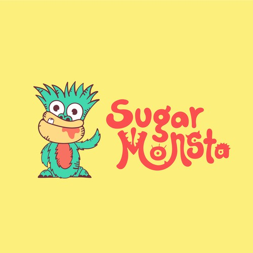 Logo for the sweet shop. They wanted a cute monster to accompany