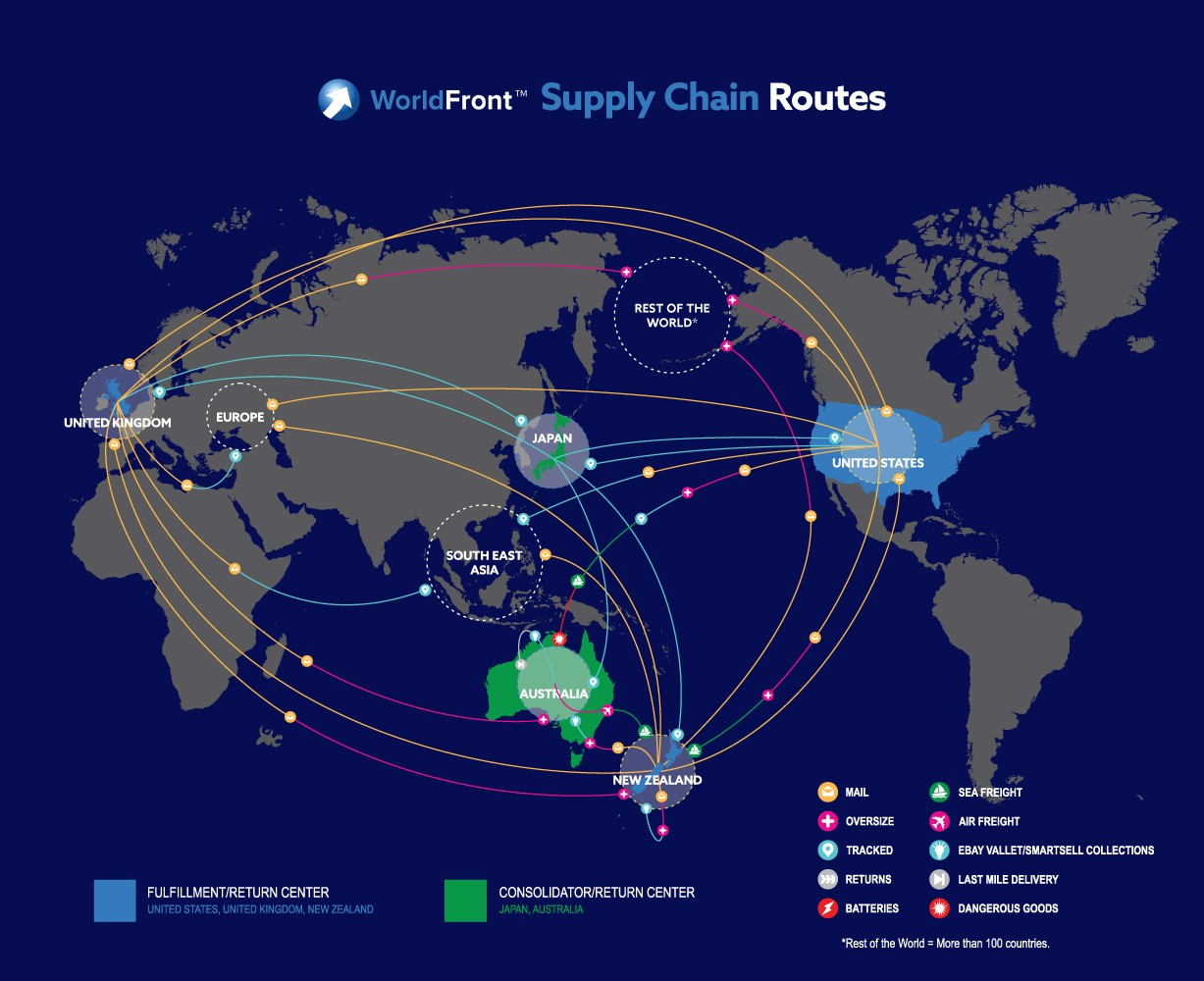 WorldFront - Supply Chain Summary on a world map