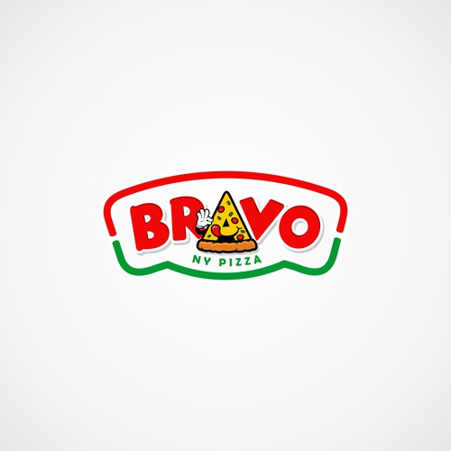 fun badge logo concept for BRAVO NY PIZZA