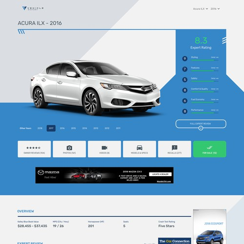 Landing Page for Vehicle History