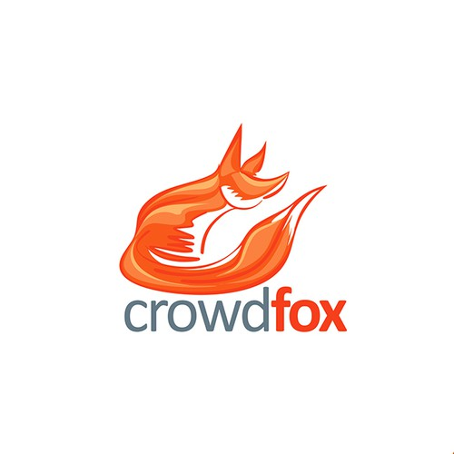 Abstract Fox Mascot Character Design for Crowdfox