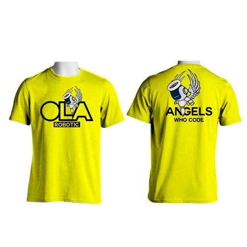 robotic angel design tshirt