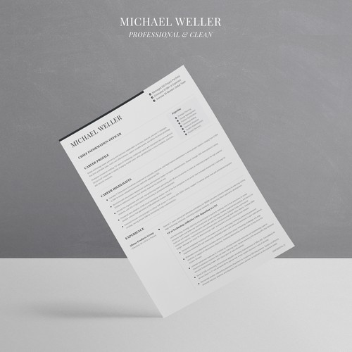 "Minimal resume style for ""Michale Weller"""