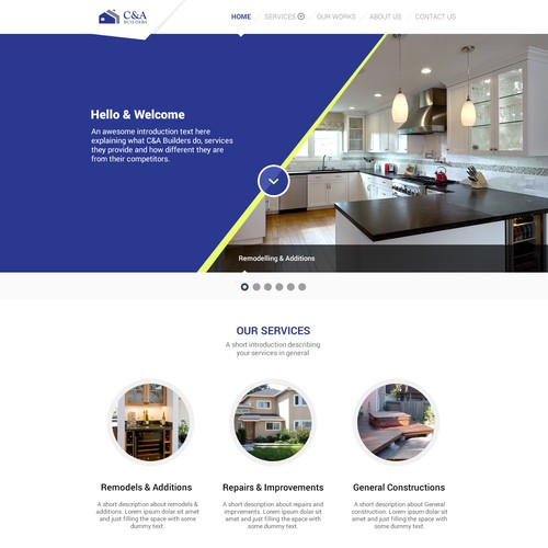 Create a sophisticated 3-page webdesign for Residential Home Builder