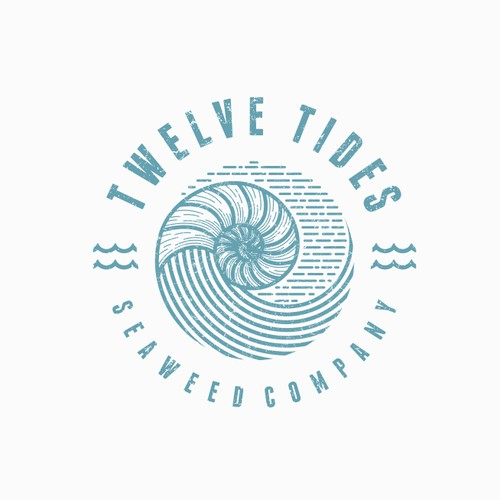 Design an ocean-centric logo for 12 Tides Seaweed Co.