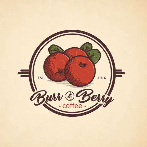 vinatge logo for burr and berry coffe