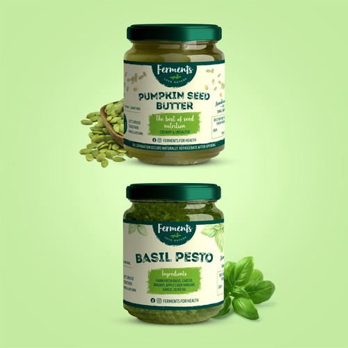 Label Design - Pumpkin Seed Butter & Basil Pesto