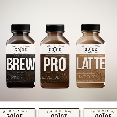 redesign of the label for cold brew coffee beverage gojoe