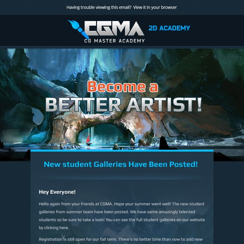 Create a stunning newsletter design for CG Master Academy