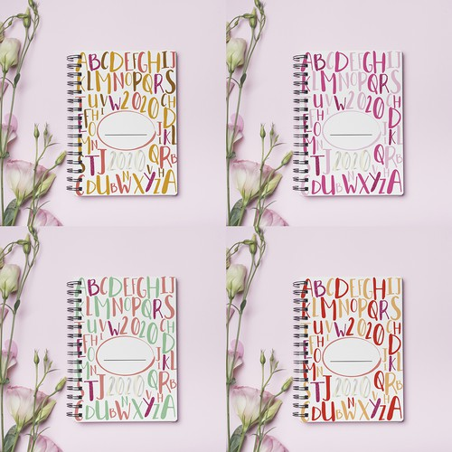 2020 notebook design with different bold color palettes