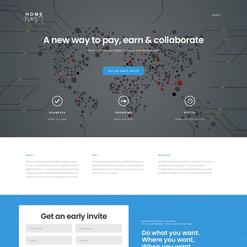 Homepage design for Home Noir