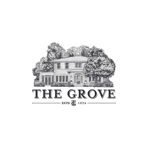 hand drawn logo for historic home and lodge