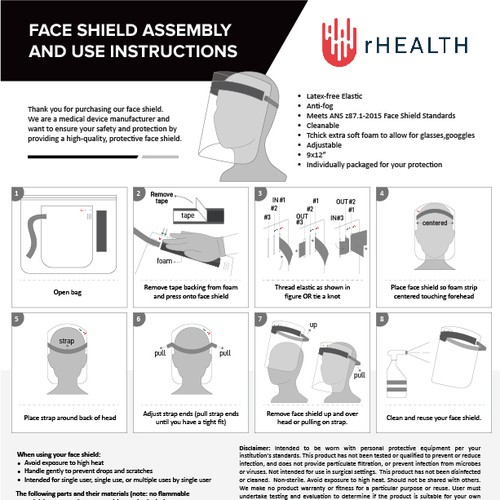 Face Shield Assembly and use instructions
