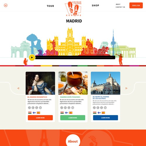 Create the coolest and fun page for Unique Tours Europe