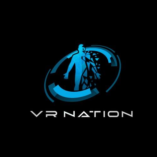 Futuristic VR Logo of disintegrating human
