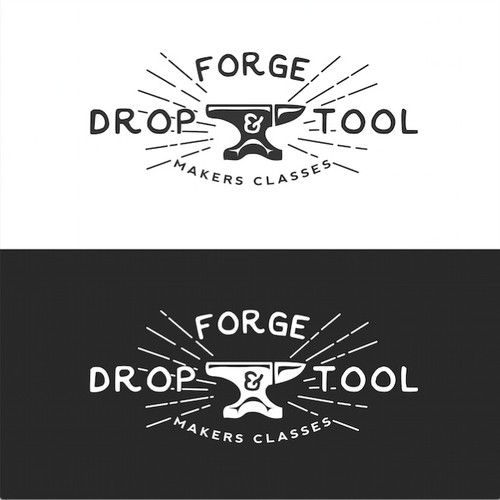 Create an eye catching logo for an arts organization with an industrial name: Drop Forge & Tool!