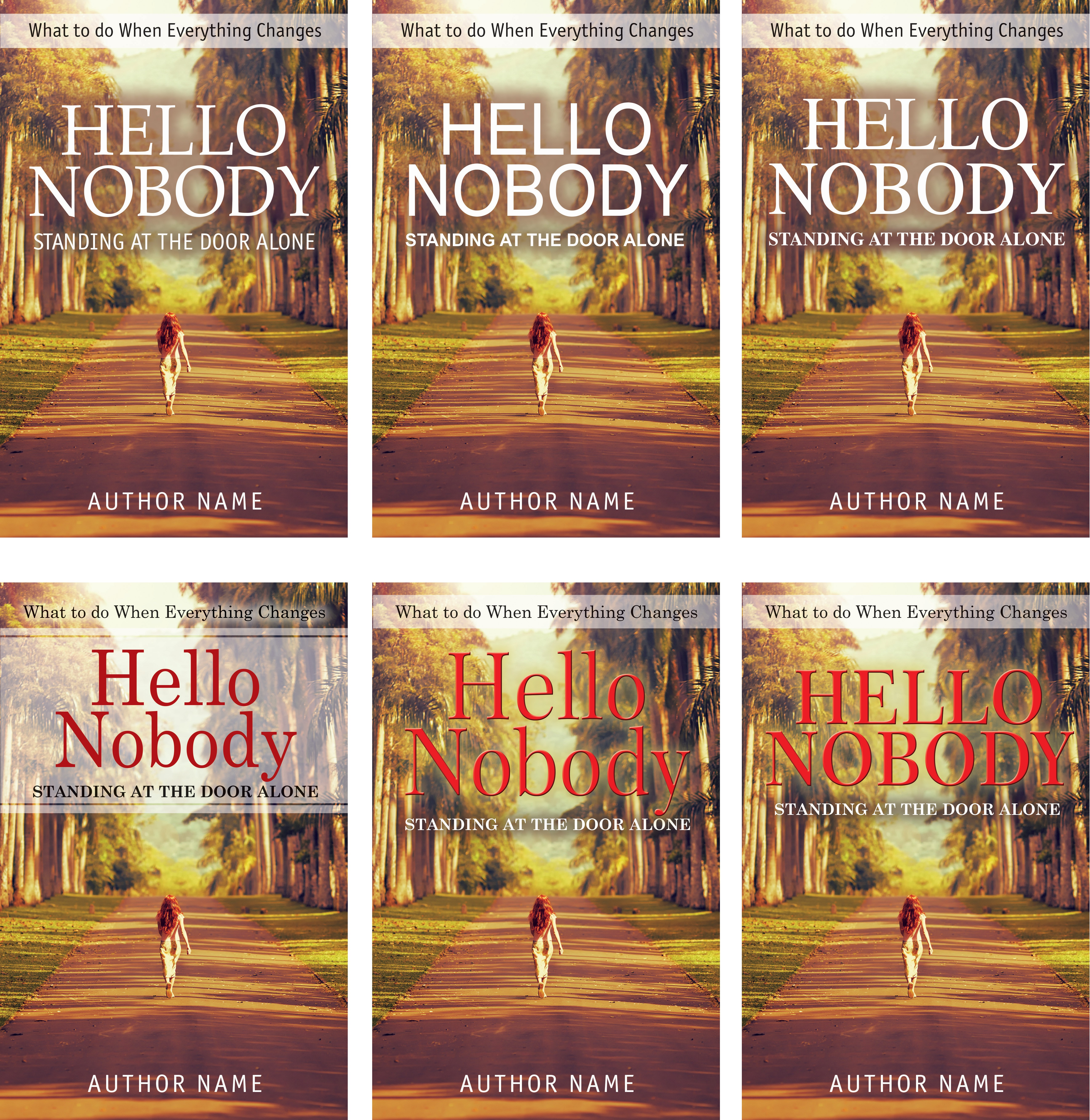 Create a captivating book cover for, Hello Nobody Standing at the Door Alone