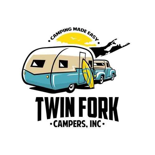 Bold vintage camper logo