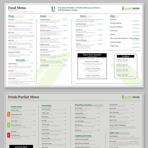 Menu design clean and professional
