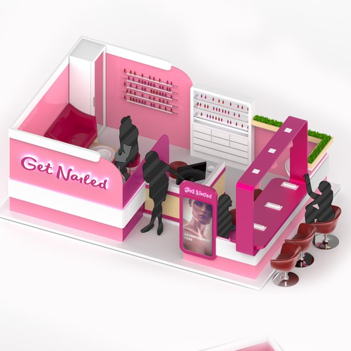 3D Concept of the nail bar kiosk
