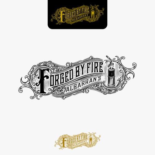 vintage/modern logo design for Albarran's Forged by Fire
