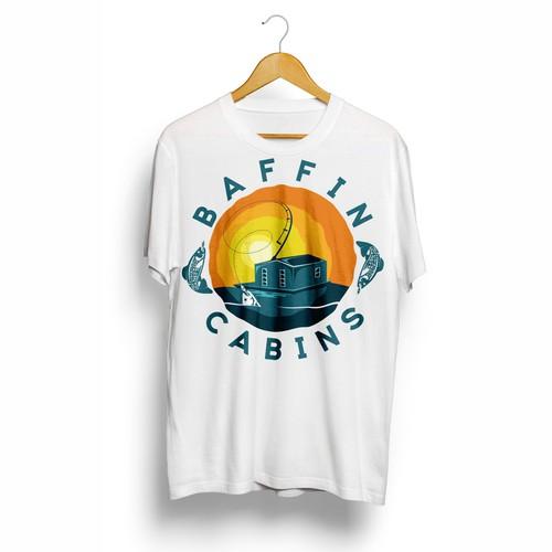 Design a coastal logo for a cabin rental / fishing guide business