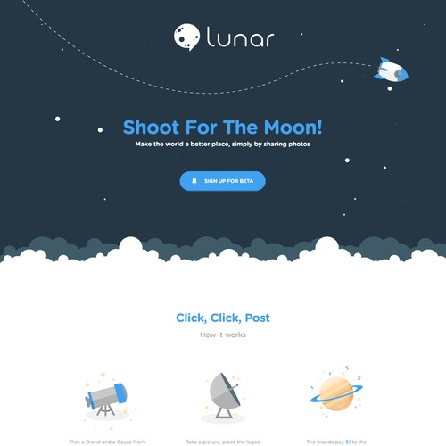 Illustrative & Fun Landing page for LunarApp