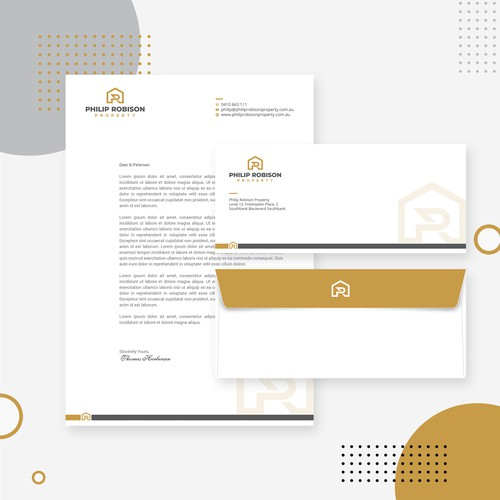 Create a modern letterhead and envelope sticker design