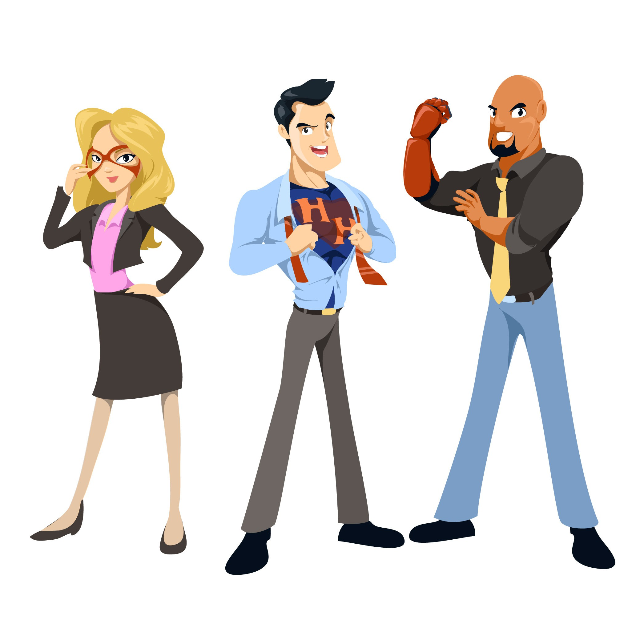 Create office superhero character illustrations for VIP program for EventBoard