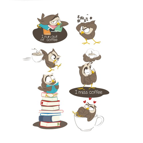 OWL drinking coffee & reading books