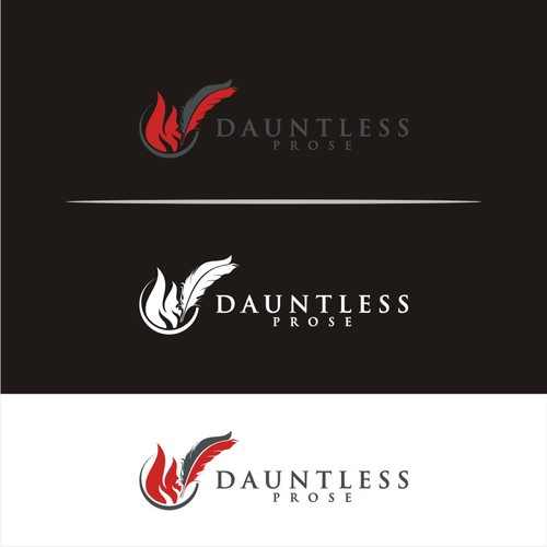 Create Stunning Logo with Flames and a Quill for DAUNTLESS PROSE