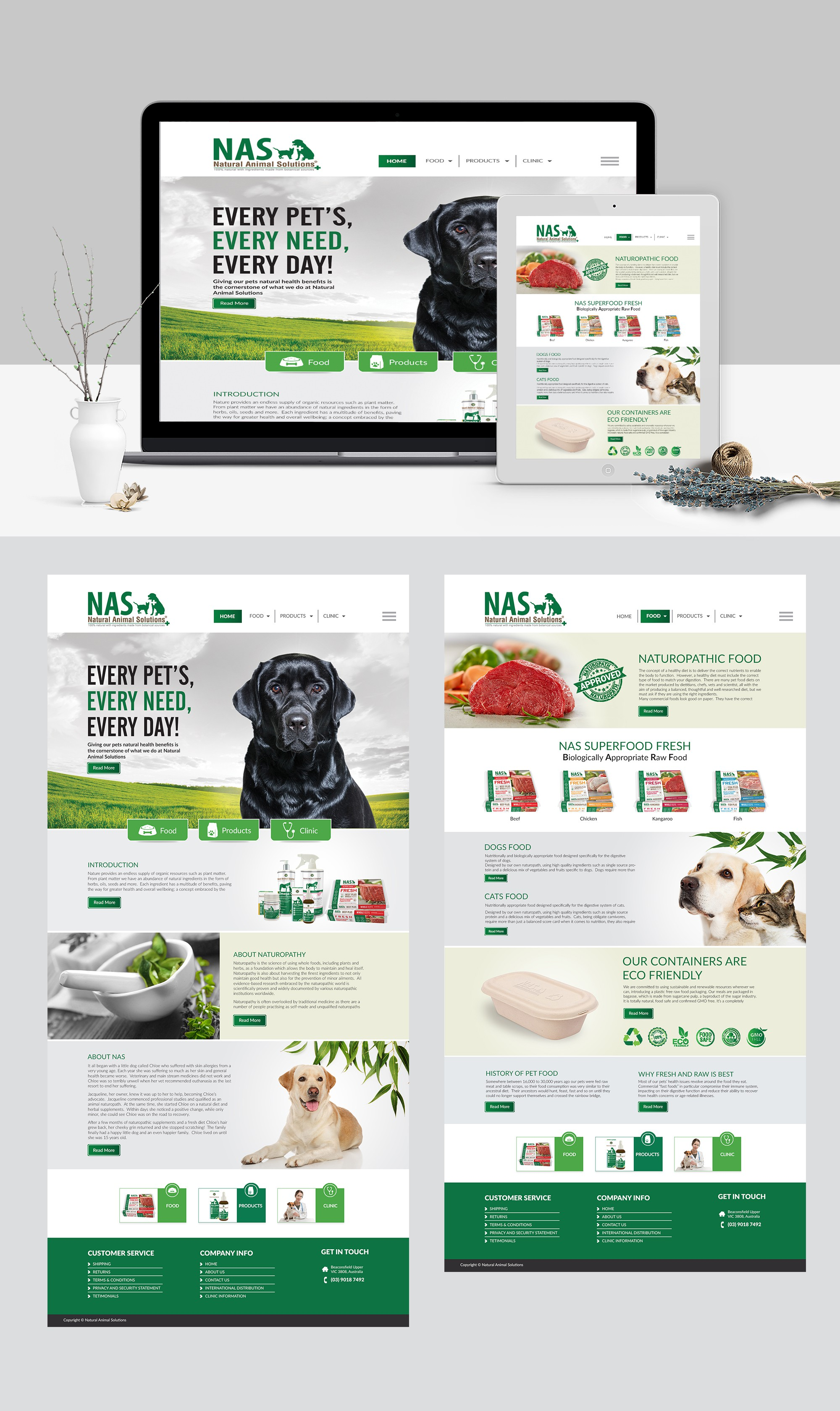 Design a beautiful looking website for a leading pet health company