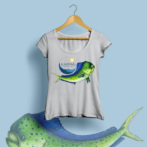 Hand-drawn fish illustration for t-shirt